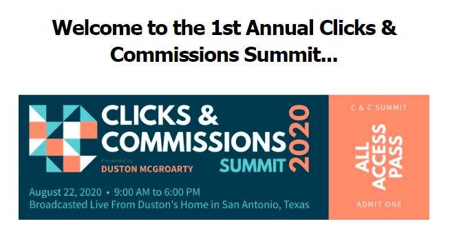 Clicks & Commissions Summit By Duston McGroarty